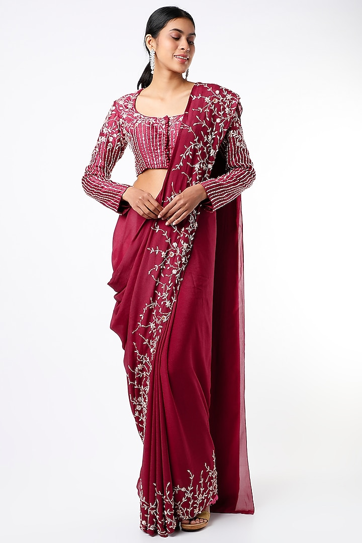 Wine Crepe Saree Set by Pink Peacock Couture