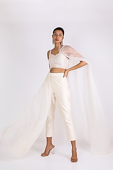Cream Embroidered Pant Set by Pink Peacock Couture