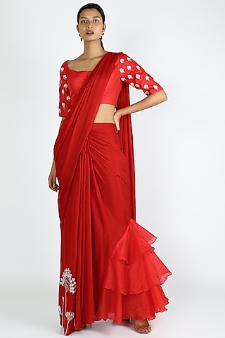 Red Embroidered & Ruffled Saree Set by Pink Peacock Couture