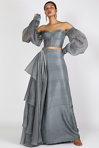 Grey Embroidered Lehenga Set by Pink Peacock Couture