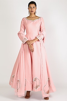 Baby Pink Embroidered Anarkali With Dupatta by Pink Peacock Couture