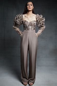 Chickoo Embroidered Jumpsuit With Ruffled Sleeves by Pink Peacock Couture