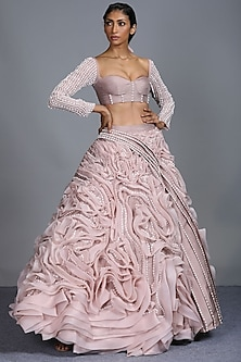 Blush Pink Embroidered Lehenga With Blouse by Pink Peacock Couture
