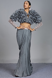 Grey Embroidered Dhoti Set by Pink Peacock Couture-PINK PEACOCK COUTURE