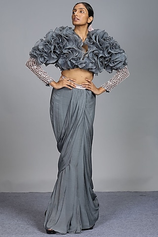 Grey Embroidered Dhoti Set by Pink Peacock Couture