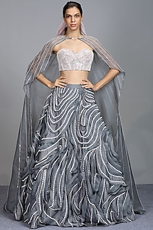 Grey Embroidered Cape Lehenga Set by Pink Peacock Couture