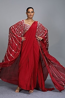 Crimson Embroidered Pre Draped Saree Set by Pink Peacock Couture