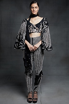Black Blouse With Ruffled Pants & Stole by Pink Peacock Couture