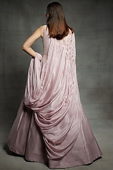 Pink Embroidered Gown With Cape by Pink Peacock Couture