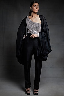 Black Embroidered Jumpsuit With Puffed Sleeves by Pink Peacock Couture