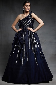 Midnight Blue Embroidered Gown by Pink Peacock Couture