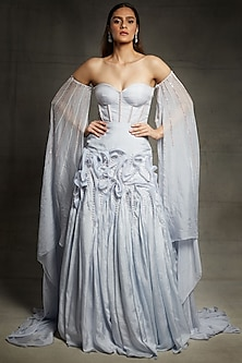 Lilac Blue Embroidered Gown by Pink Peacock Couture