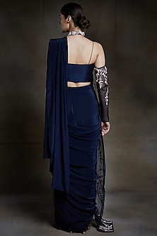 Midnight Blue Embroidered Saree Set by Pink Peacock Couture