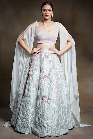 Mint Green Embroidered Bridal Lehenga Set by Pink Peacock Couture