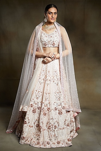 Cream Embroidered Bridal Lehenga Set by Pink Peacock Couture