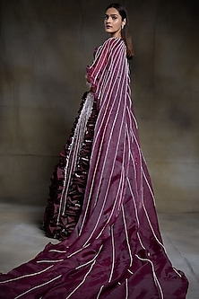 Wine Embroidered Bridal Lehenga Set by Pink Peacock Couture