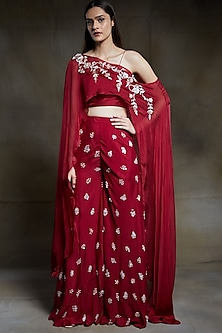 Wine Embroidered Sharara Set by Pink Peacock Couture