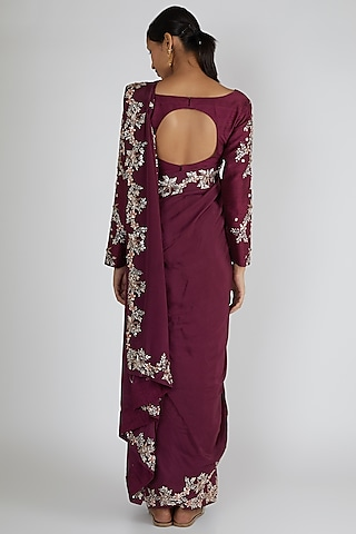 Wine Embroidered Saree Set by Pink Peacock Couture