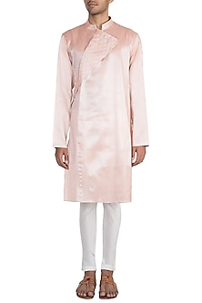Dusty Pink Embroidered Kurta With Pants by Pink Peacock Couture Men