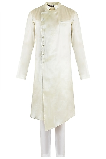 Green Kurta With White Pants by Pink Peacock Couture Men
