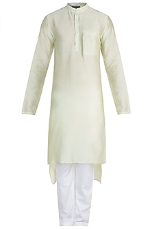 Pista Green Chinese Collared Kurta With Pants by Pink Peacock Couture Men