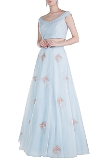 Powder Blue Crop Top With Embroidered Lehenga Skirt by Pink Peacock Couture