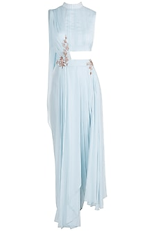 Powder Blue Embroidered Crop top With Dhoti Pants by Pink Peacock Couture