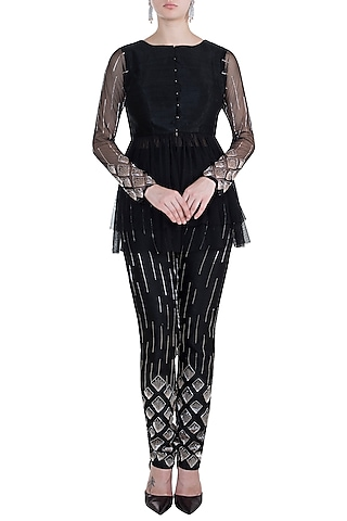 Black Jacket With Embroidered Pant by Pink Peacock Couture