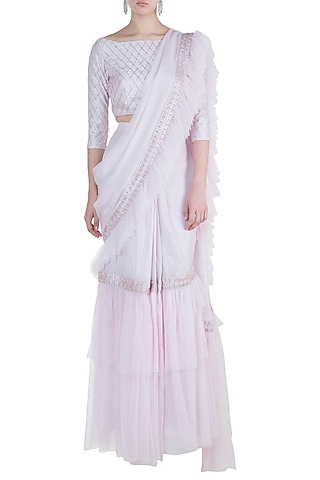 Lilac Embroidered Saree Set by Pink Peacock Couture