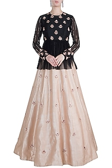 Black Embroidered Peplum Top WIth Golden Lehenga Skirt by Pink Peacock Couture
