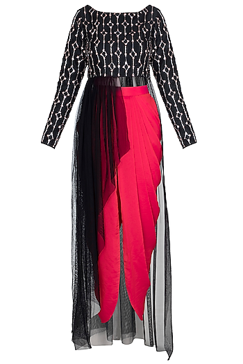 Black Embroidered Crop Top With Dhoti Pants by Pink Peacock Couture