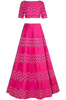 Hot Pink Embroidered Lehenga Set by Pink Peacock Couture