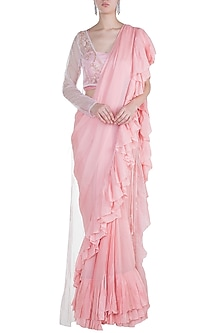 Pop Pink Embroidered Ruffled Saree Set With Jacket by Pink Peacock Couture