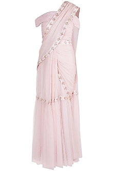 Nude Embroidered Ruffled Saree Set by Pink Peacock Couture