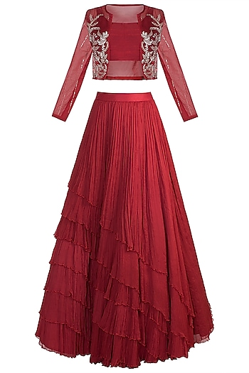 Red Lehenga Set With Embroidered Jacket by Pink Peacock Couture
