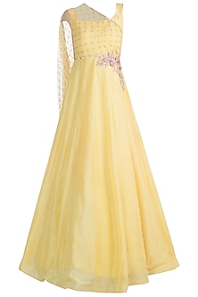 Yellow Embroidered Anarkali Gown With Draped Dupatta by Pink Peacock Couture
