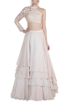 Nude Embroidered Lehenga Set by Pink Peacock Couture