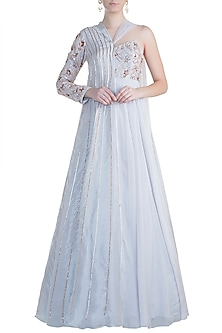 Lilac Grey Embroidered Anarkali Jacket by Pink Peacock Couture