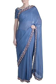 Dark Lilac Embroidered Saree Set by Pink Peacock Couture