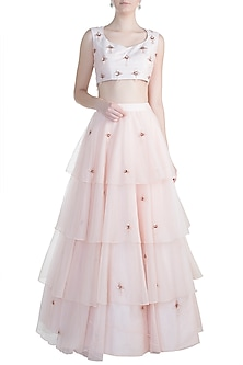 Peach Embroidered Layered Lehenga Set by Pink Peacock Couture-SHOP BY STYLE