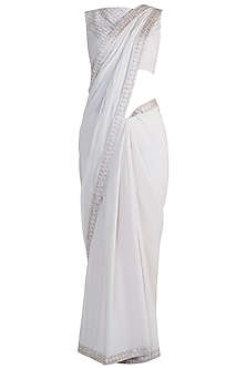 Nude Zigzag Embroidered Saree Set by Pink Peacock Couture