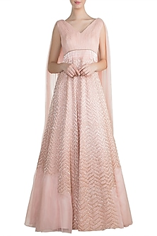Peach Embroidered Gown by Pink Peacock Couture