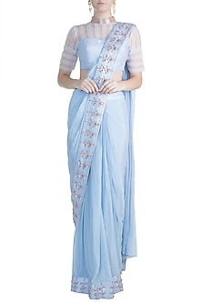 Lilac Blue Embroidered Saree Set by Pink Peacock Couture