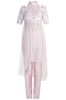 Peach Pink Embroidered Crop Top With Pants by Pink Peacock Couture