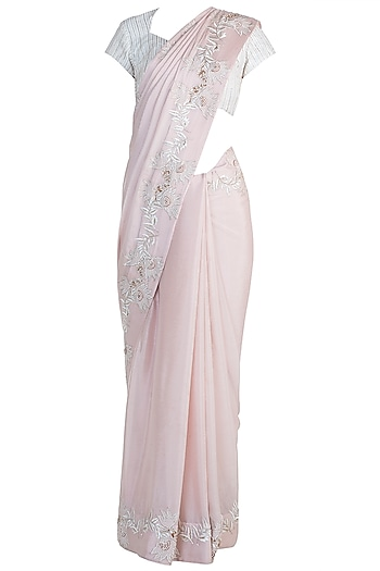 Peach & Off White Embroidered Saree Set by Pink Peacock Couture