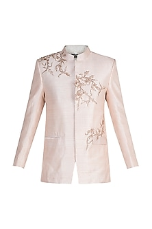 Light Blush Pink Embroidered Bandhgala Jacket by Pink Peacock Couture Men