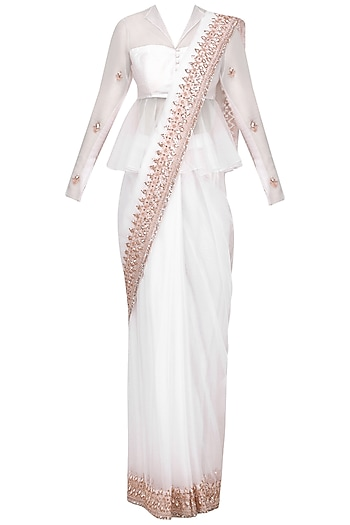 White Rose Gold Embroidered Saree with Peplum Blouse by Pink Peacock Couture