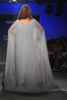 Grey Embroidered Gown With Cape by Pink Peacock Couture