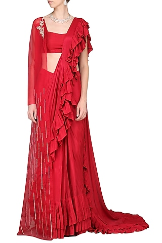 Red Embroidered Pleated Saree with Cape by Pink Peacock Couture
