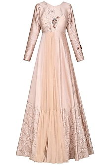 Nude Embroidered Gown by Pink Peacock Couture